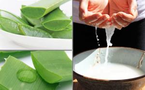 dùng nha đam và nước vo gạo giúp giảm các nếp nhăn và trị nám da mặt đơn giản.