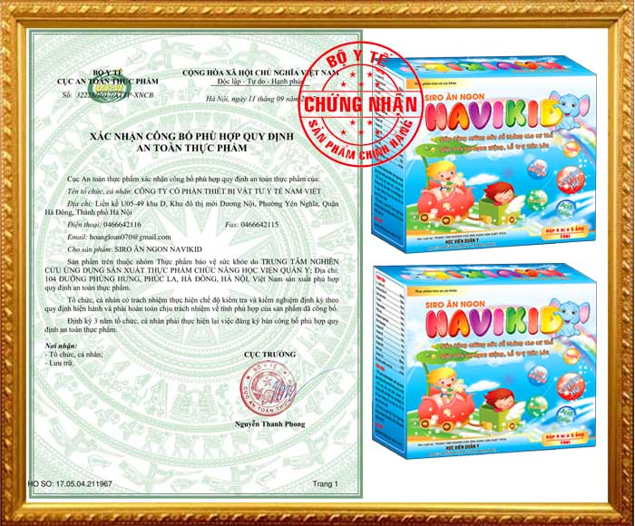 Xác nhận công bố của Cục VS ATTP - Bộ Y tế đối với sản phẩm siro ăn ngon Navikid Học Viện Quân Y