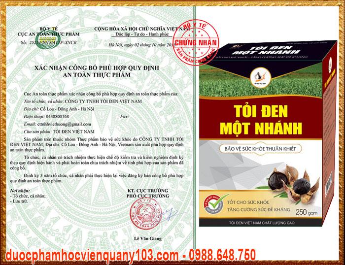 Giấy chứng nhận của Cục Vệ Sinh ATTP - Bộ Y Tế đối với sản phẩm tỏi đen một nhánh Việt Nam.