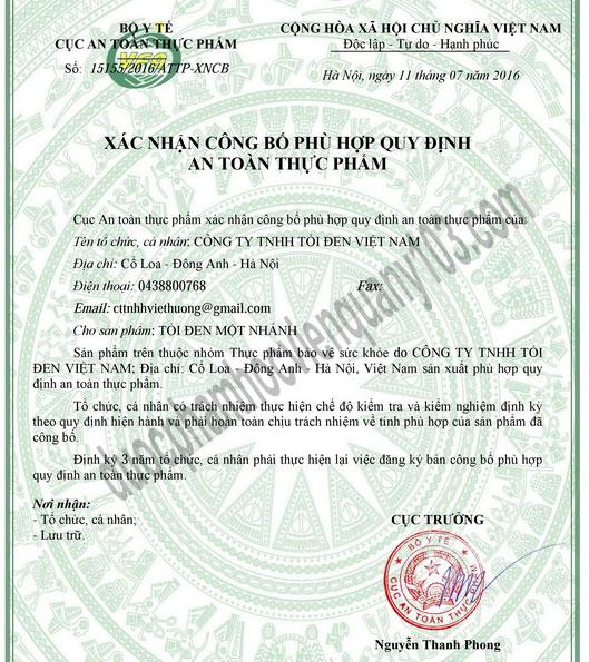 Xác nhận công bố Tỏi Đen Cô Đơn Một Nhánh Việt Nam