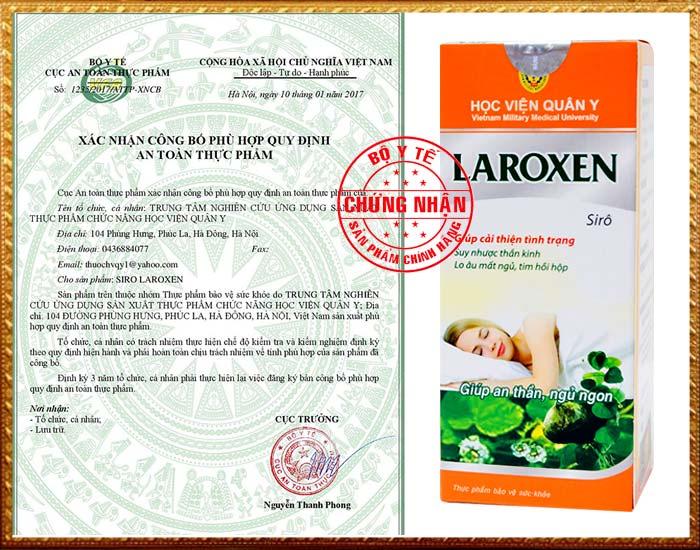 Xác nhận của Cục VS ATTP - Bộ Y tế đối với sản phẩm Siro Laroxen trị mất ngủ Học Viện Quân Y