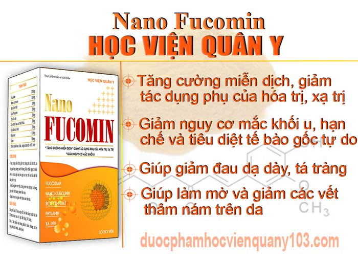 Công dụng chính của nano fucomin Học Viện Quân Y