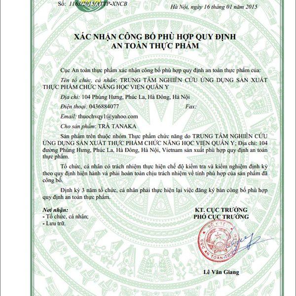 Xác nhận công bố trà thảo dược tanaka an toàn thực phẩm của cục ATTP - Bộ Y Tế