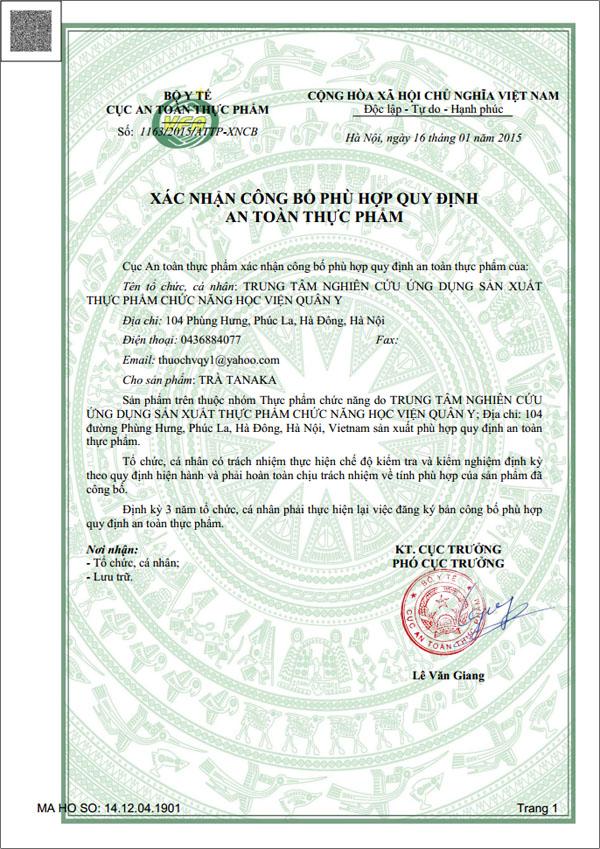 Xác nhận công bố trà thảo dược tanaka an toàn thực phẩm của - Bộ Y Tế
