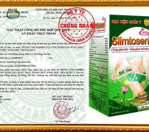 Chứng nhận Slimtosen extra hvqy