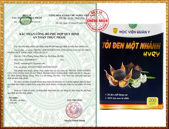 Xác nhận công bố của Cục VS ATTP Bộ Y tế đối với sản phẩm tỏi đen một nhánh Học Viện Quân Y