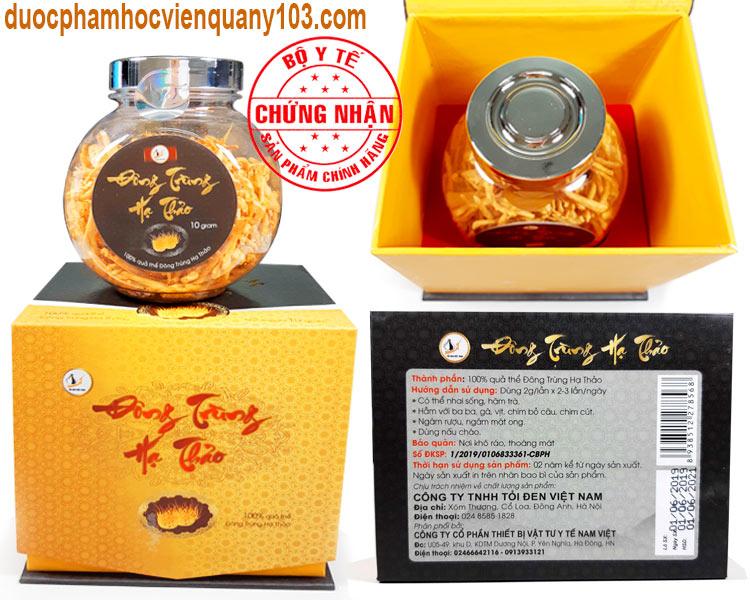 Sản phẩm đông trùng hạ thảo Việt Nam đã đăng ký và được Bộ Y Tế chứng nhận