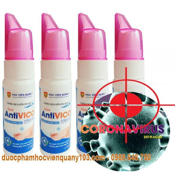 Dung dịch rửa tay khô sát khuẩn Ami AntiVICO Học Viện Quân Y diệt virut corona hiệu quả