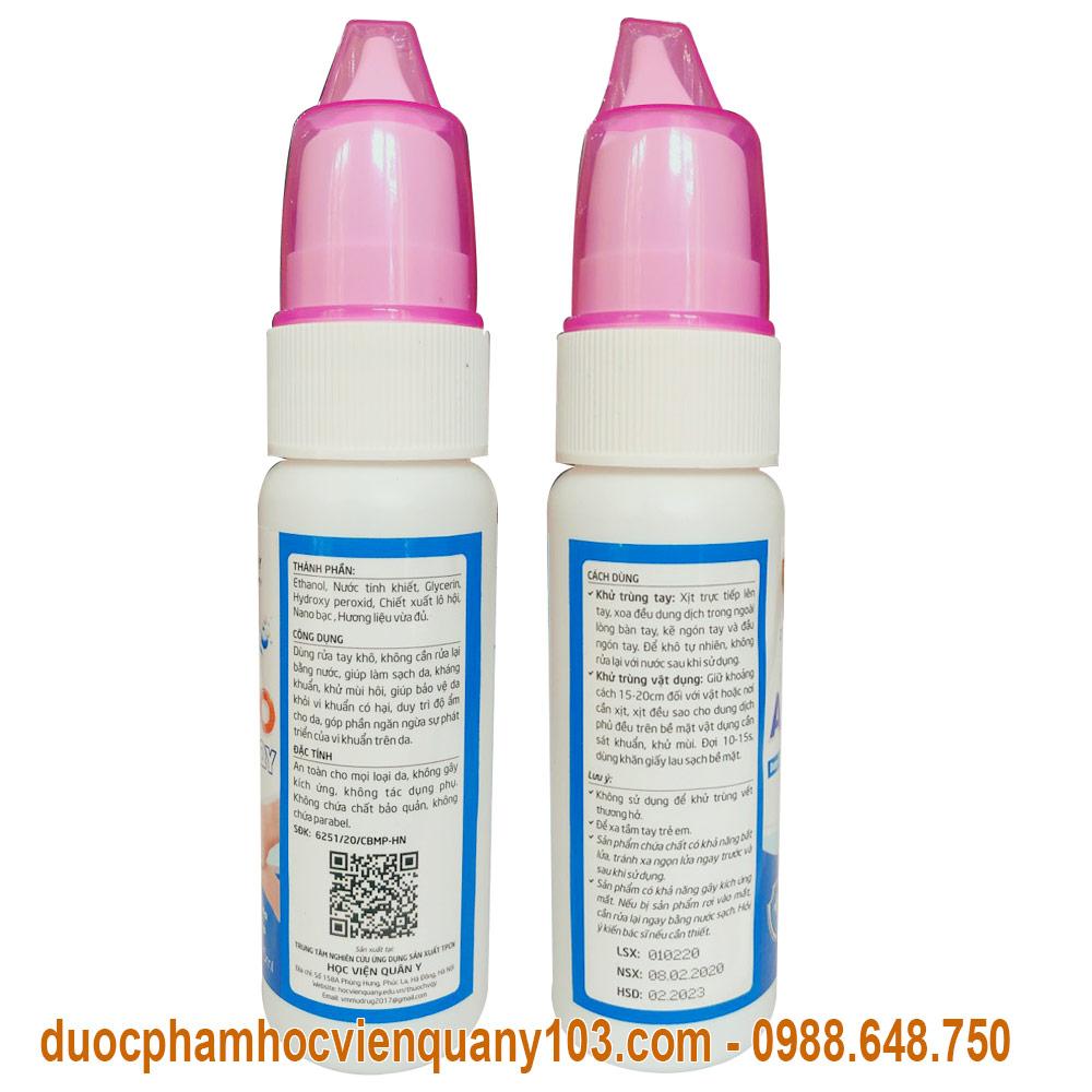 Thông tin chi tiết về dung dịch rửa tay khô sát khuẩn Ami AntiVICO Học Viện Quân Y