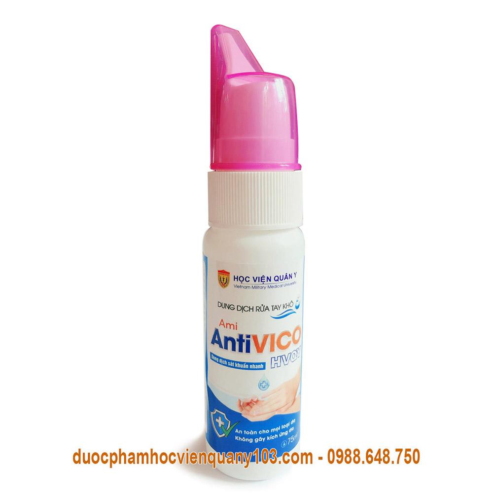 Dung dịch rửa tay khô sát khuẩn Ami AntiVICO Học Viện Quân Y