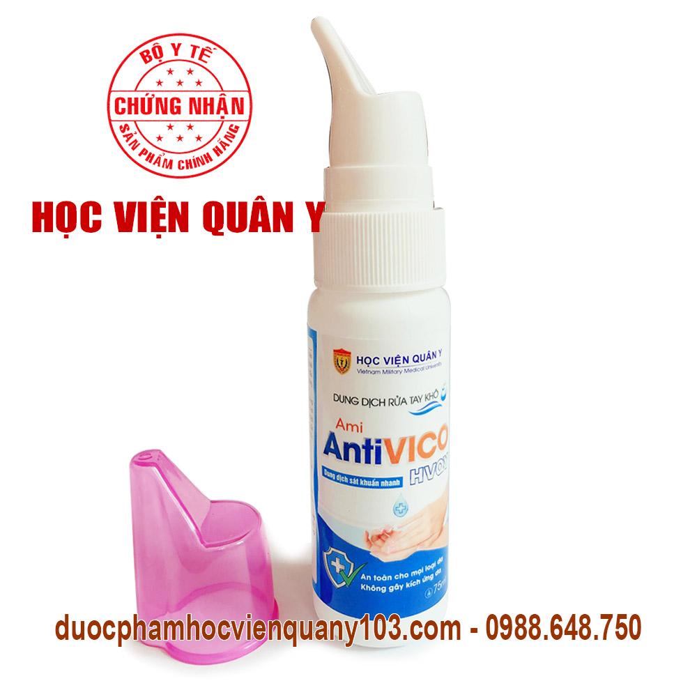 Dung dịch nước rửa tay khô sát khuẩn Ami AntiVICO HVQY