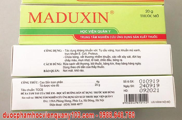 Công dụng của thuốc chữa bỏng Maduxin Học Viện Quân Y